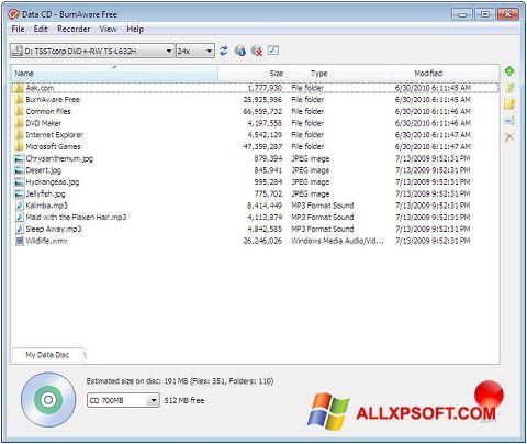 Skärmdump BurnAware Free för Windows XP