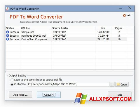 Skärmdump PDF to Word Converter för Windows XP