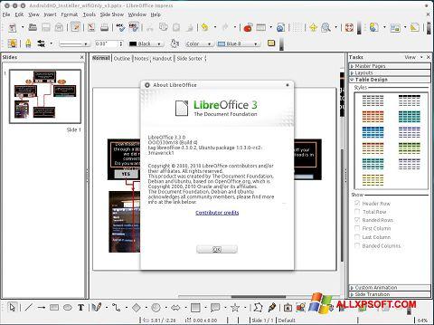 Skärmdump LibreOffice för Windows XP