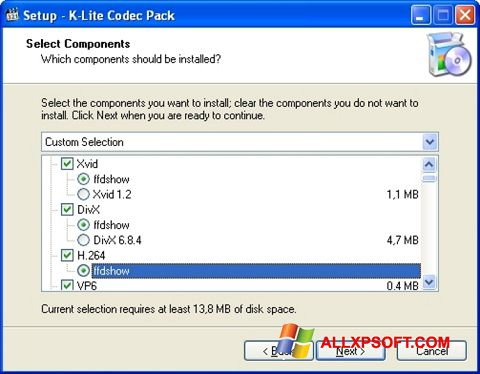 Skärmdump K-Lite Codec Pack för Windows XP