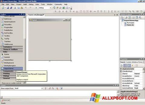Skärmdump Microsoft Visual Studio för Windows XP