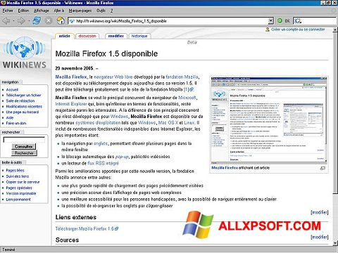 Skärmdump Mozilla Firefox för Windows XP
