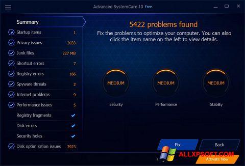 Skärmdump Advanced SystemCare Free för Windows XP