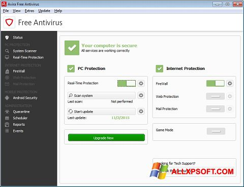 Skärmdump Avira Free Antivirus för Windows XP
