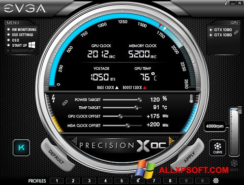 Skärmdump EVGA Precision för Windows XP