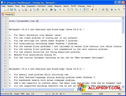 Skärmdump Notepad++ för Windows XP