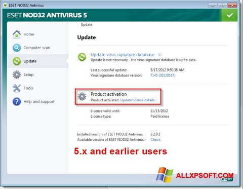 Skärmdump ESET NOD32 för Windows XP