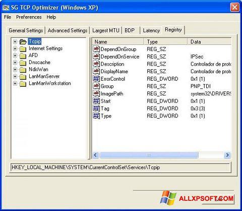 Skärmdump TCP Optimizer för Windows XP