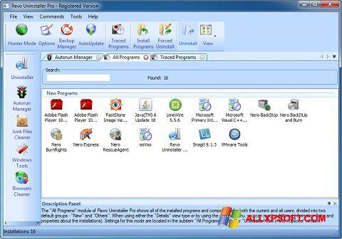 Skärmdump Revo Uninstaller Pro för Windows XP